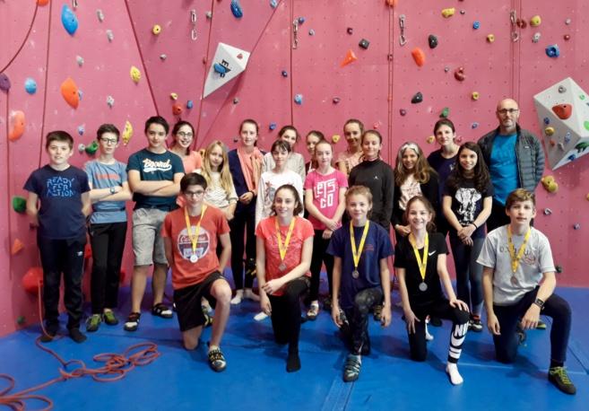 podium aux championnats académiques UNSS d'escalade
