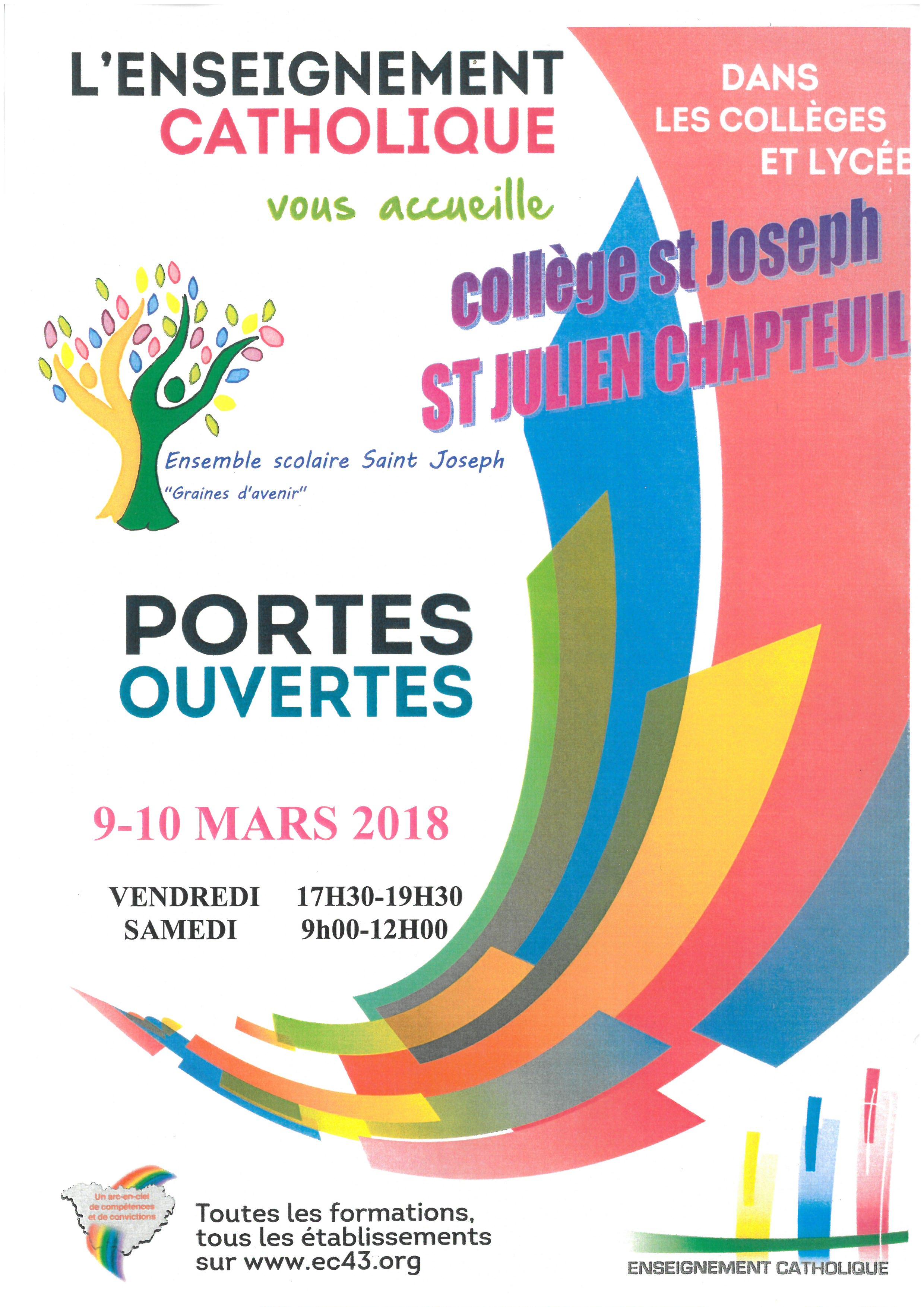 Portes ouvertes 9 et 10 Mars 2018